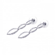 ***CLOSEOUT*** Wholesale Sterling Silver 925 Rhodium Plated Clear Open Marquis CZ Dangling Stud Earring - BGE00014