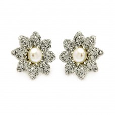 Wholesale Sterling Silver 925 Rhodium Plated Flower CZ Inlay Center Pearl Stud Earrings - BGE00214