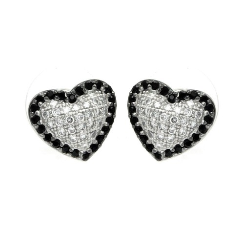 Wholesale Sterling Silver Rhodium Plated Black and Clear Heart CZ Inlay Outline Stud Earrings - BGE00215