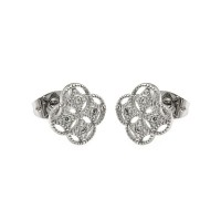 Wholesale Sterling Silver 925 Rhodium Plated Clover CZ Stud Earrings - BGE00250