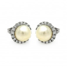 Wholesale Sterling Silver 925 Rhodium Plated Round CZ Center Fresh Water Pearl Stud Earrings - BGE00253