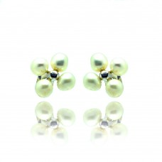 Sterling Silver Rhodium Plated Flower Fresh Water Pearl Stud Earring - BGE00320