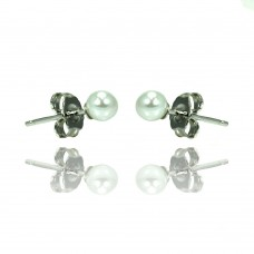 Sterling Silver Rhodioum Plated Pearl Stud Earring bge00327