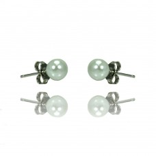 Sterling Silver Rhodioum Plated Pearl Stud Earring bge00328