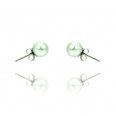 Sterling Silver Rhodioum Plated Pearl Stud Earring bge00329