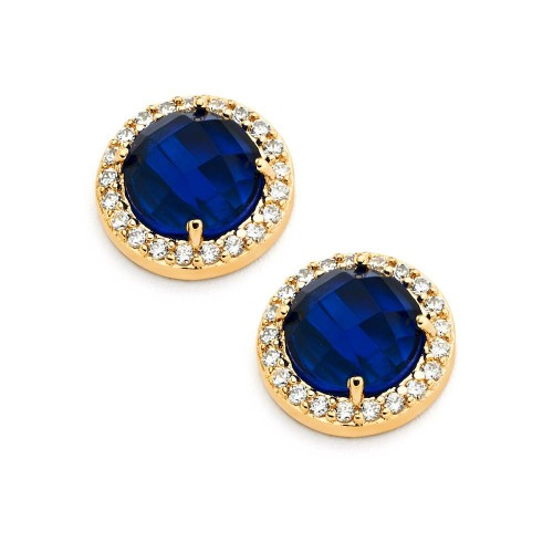 Wholesale Sterling Silver 925 Gold Plated Blue Center Clear Outline CZ Stud Earrings - BGE00360B