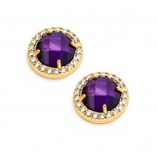 Wholesale Sterling Silver 925 Gold Plated Channel Teardrop Purple CZ Dangling Stud Earrings - BGE00360P