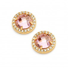 Wholesale Sterling Silver 925 Gold Plated Pink Center Clear Outline CZ Stud Earrings - BGE00360PK