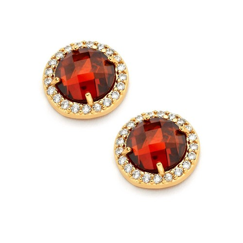 Wholesale Sterling Silver 925 Gold Plated Red Center Clear Outline CZ Stud Earrings - BGE00360R