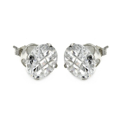 Wholesale Sterling Silver 925 Clear Round Invisible Cut CZ Stud Earring - STUD RD CL IN