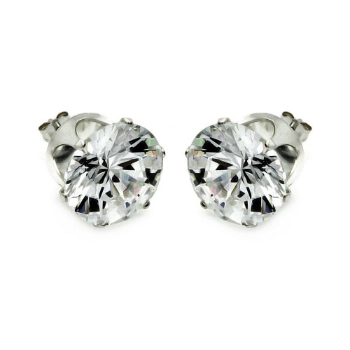 Wholesale Sterling Silver 925 Clear Round CZ Stud Earring - STUD RD CL
