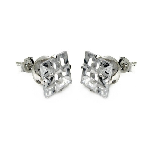 Wholesale Sterling Silver 925 Square Invisible Cut Clear CZ Stud Earring - STUD SQ CL IN