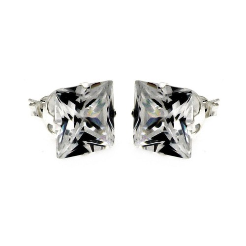 Wholesale Sterling Silver 925 Square Clear CZ Stud Earring - STUD SQ CL