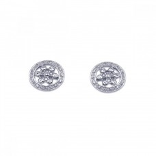 **Closeout** Wholesale Sterling Silver 925 Rhodium Plated Round Helm Wheel CZ Stud Earrings - STE00129