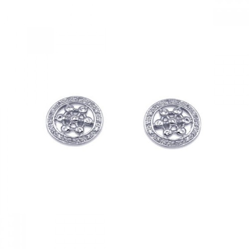 -Closeout- Wholesale Sterling Silver 925 Rhodium Plated Round Helm Wheel CZ Stud Earrings - STE00129
