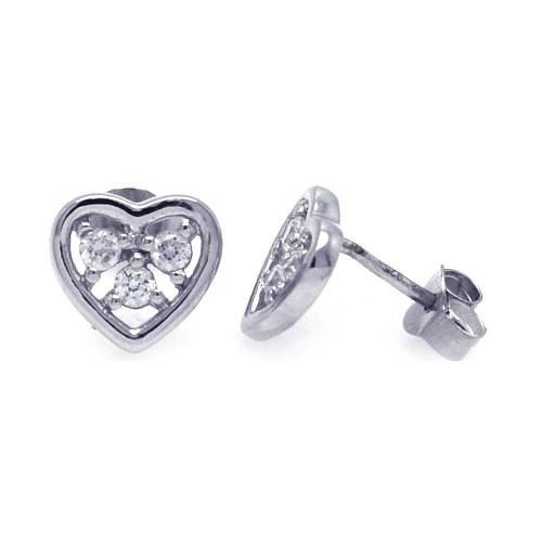 Wholesale Sterling Silver 925 Rhodium Plated Three Clear Round CZ Heart Post Earrings - STE00700