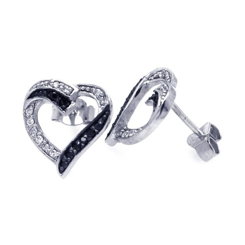 Wholesale Sterling Silver 925 Black and Silver Rhodium Plated Round Clear CZ Heart Post Earrings - STE00701