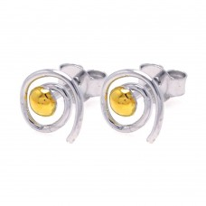 **Closeout** Wholesale Sterling Silver 925 Rhodium Plated Round Yellow CZ Swirl Stud Earrings - STE00749