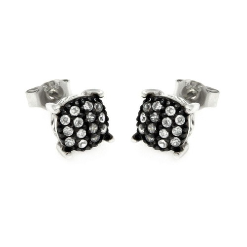 Wholesale Sterling Silver 925 Black and Silver Rhodium Plated Round Clear Small CZ Post Earrings - STE00891