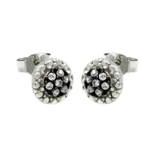 Wholesale Sterling Silver 925 Black and Silver Rhodium Plated Round CZ Stud Earrings - STE00892