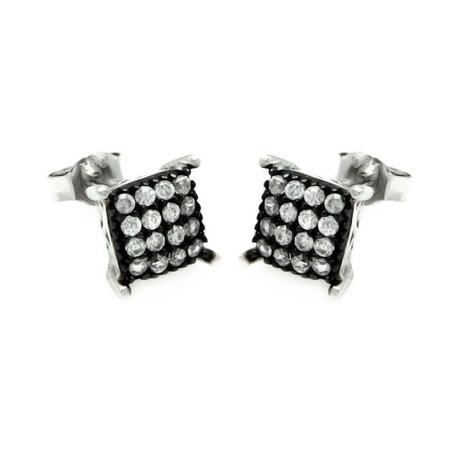 Wholesale Sterling Silver 925 Black and Rhodium Plated Square CZ Post Earrings - STE00893