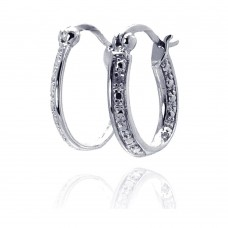 Wholesale Sterling Silver 925 Rhodium Plated Round Clear CZ Hoop Earrings - STE00692