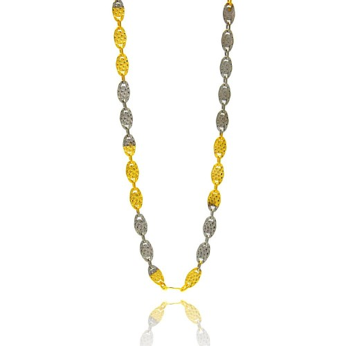Wholesale Sterling Silver 925 Gold Plated Two Toned Diamond Cut Confetti Chain 3mm - CH368 2T