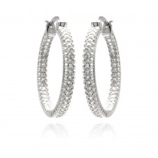 Sterling Silver Rhodium Plated Micro Pave Clear CZ Hoop Earring ace00061