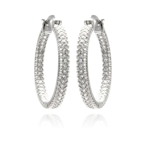 Wholesale Sterling Silver 925 Rhodium Plated Micro Pave Clear CZ Hoop Earrings - ACE00061
