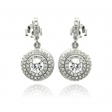 Sterling Silver Rhodium Plated Micro Pave Clear Round CZ Dangling Stud Earring ace00072