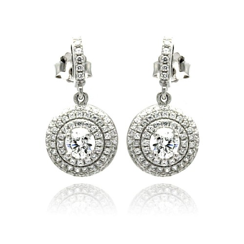 Wholesale Sterling Silver 925 Rhodium Plated Micro Pave Clear Round CZ Dangling Stud Earrings - ACE00072