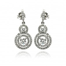 Sterling Silver Rhodium Plated Micro Pave Clear Graduated Cricle CZ Dangling Stud Earring ace00073