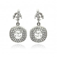 Sterling Silver Rhodium Plated Micro Pave Clear CZ Round Dangling Stud Earring ace00074