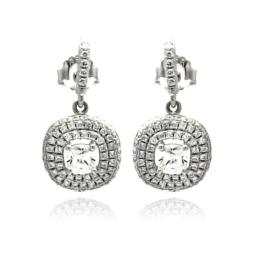 Wholesale Sterling Silver 925 Rhodium Plated Micro Pave Clear CZ Round Dangling Stud Earrings - ACE00074
