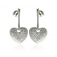 Sterling Silver Rhodium Plated Micro Pave Clear Heart CZ Dangling Stud Earring ace00075
