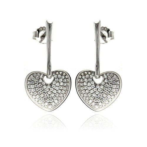 Wholesale Sterling Silver 925 Rhodium Plated Micro Pave Clear Heart CZ Dangling Stud Earrings - ACE00075