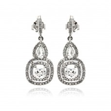 Sterling Silver Rhodium Plated Micro Pave Clear Teardrop Square CZ Dangling Stud Earring ace00076