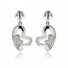 Sterling Silver Rhodium Plated Micro Pave Clear Heart Inlay CZ Dangling Earring ace00077