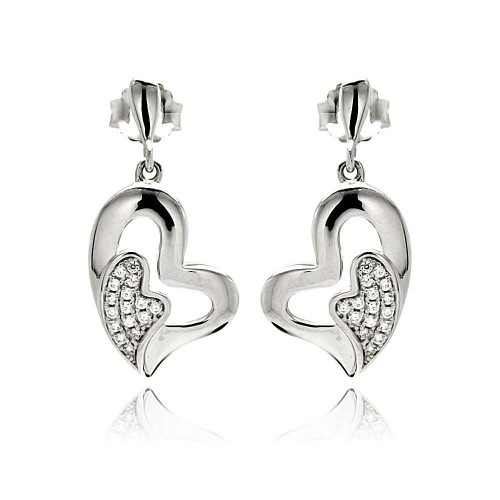 Wholesale Sterling Silver 925 Rhodium Plated Micro Pave Clear Heart Inlay CZ Dangling Earrings - ACE00077