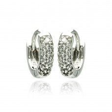 Wholesale Sterling Silver 925 Rhodium Plated Round Clear CZ Inlay Huggie Earrings - BGE00178