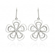 **Closeout** Wholesale Sterling Silver 925 Rhodium Plated Open Flower CZ Dangling Hook Earrings - BGE00232