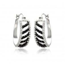 Wholesale Sterling Silver 925 Rhodium Plated White Enamel Black Stripe CZ Hoop Earrings - BGE00242