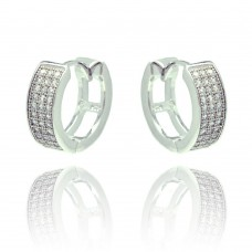 Wholesale Sterling Silver 925 Rhodium Plated Round CZ Inlay Hoop Earrings - BGE00287