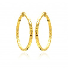 **Closeout** Wholesale Sterling Silver 925 Gold Plated Hoop Earrings - ITE00021GP