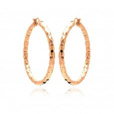 **Closeout** Wholesale Sterling Silver 925 Rose Gold Plated Hoop Earrings - ITE00021RGP
