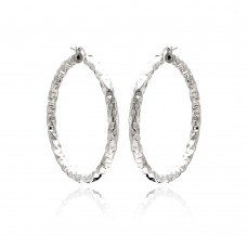 **Closeout** Wholesale Sterling Silver 925 Rhodium Plated Hoop Earrings - ITE00021RH