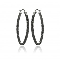 **Closeout** Wholesale Sterling Silver 925 Black Rhodium Plated Oval Hoop Earrings - ITE00022BLK