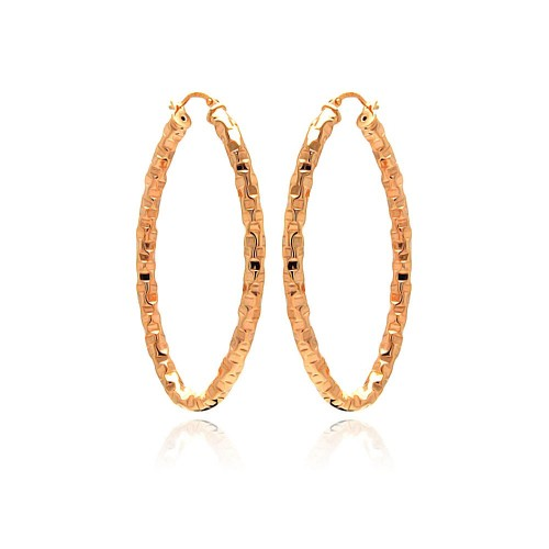 -Closeout- Wholesale Sterling Silver 925 Rose Gold Plated Oval Hoop Earrings - ITE00022RGP