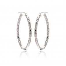 **Closeout** Wholesale Sterling Silver 925 Rhodium Plated Oval Hoop Earrings - ITE00022RH