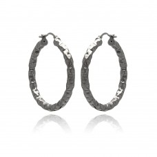 **Closeout** Wholesale Sterling Silver 925 Black Rhodium Plated Oval Hoop Earrings - ITE00023BLK